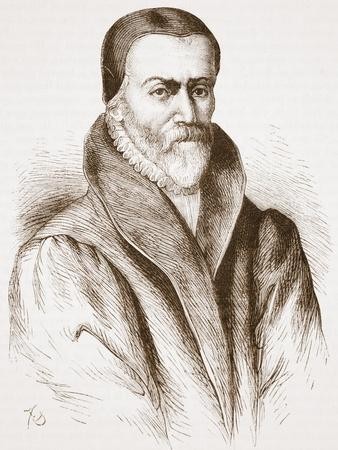 Portrait of William Tyndale (From an Old Engraving in the Bibliotheque Nationale), Illustration…