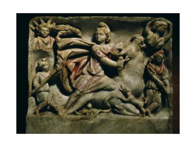A Relief of Mithras Slaying the Bull, the First of Living Creatures from Whose Blood, Corn and…