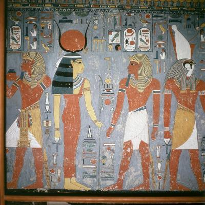 A Detail of a Wall Painting in the Tomb of Horemheb