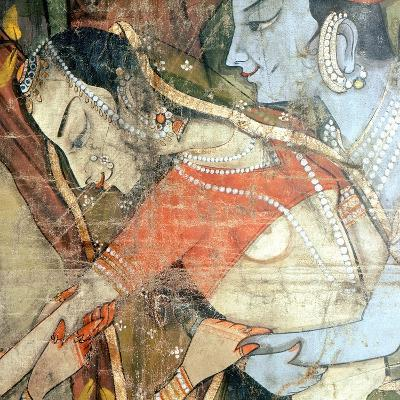 A Detail of a Wall Hanging with Scenes from the Legend of Krishna