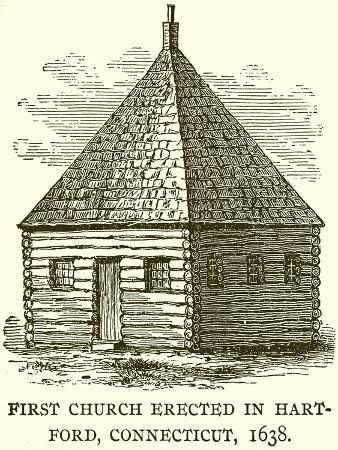 First Church Erected in Hart-Ford, Connecticut, 1638