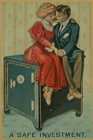 Man and Woman Embracing on a Safe, a Safe Investment