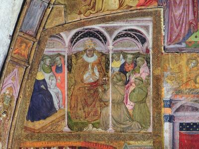St. Francis Imploring Pope Honorius III for the Confirmation of the Indulgence, Fresco from the…