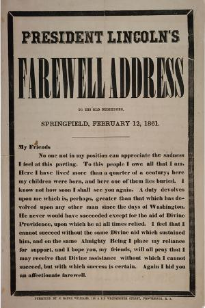 President Lincoln's Farewell Address to His Old Neighbours, Springfield, 12th February 1861
