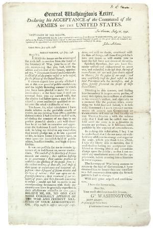 General Washington's Letter Declaring His Acceptance of the Command, 18 July 1798