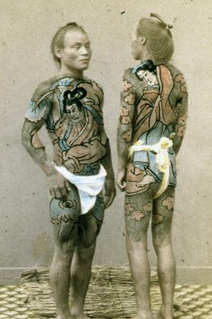 Two Men with Traditional Japanese Irezumi Tattoos, C.1880
