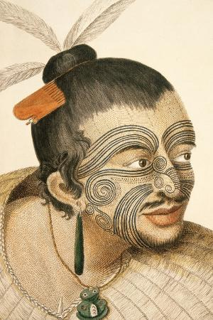 Portrait of a Maori Chief with Full Facial Moko, 1769