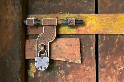 Ornate Lock on Old Door Karsha Gompa (Monastery), Zanskar, Ladakh, Himalayas, Jammu and Kashmir,…