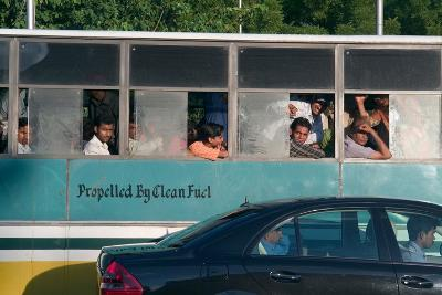 """Passengers in Gas-Powered Public Transport Bus (""""Propelled by Clean Fuel"""", Cng=Compressed Natural…"""