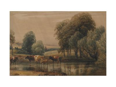 Landscape with Willows, Cows and Calf in a Stream, C.1835