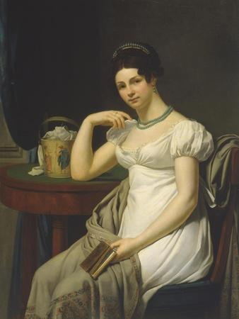 Portrait of a Woman in an Interior with a Work Basket