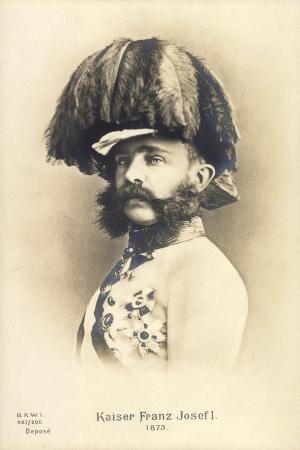 Ak Kaiser Franz Josef I, 1873, Mit Federhelm, Uniform, Orden, Bkwi 887 205