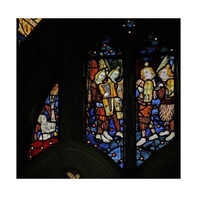 Window S1 Depicting Musician Angels with Harps and Crwth (Welsh Fiddle)