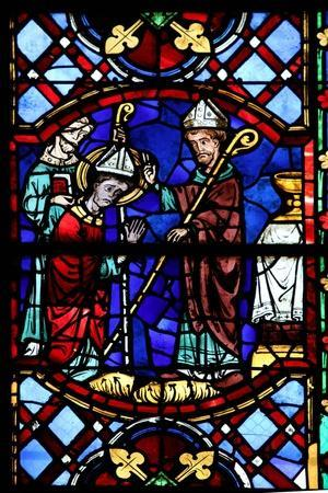 Window W04 Depicting St Martin Enthroned as a Bishop
