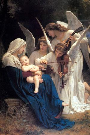 William-Adolphe Bouguereau Song of the Angels Plastic Sign