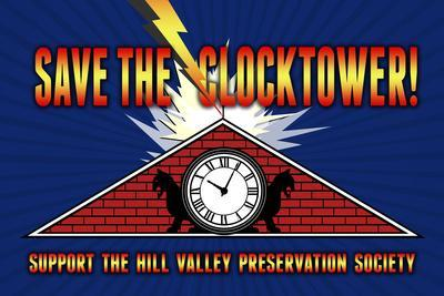 Save the Clocktower Movie Plastic Sign