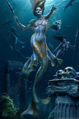 Mermaid Hunt by Tom Wood Plastic Sign