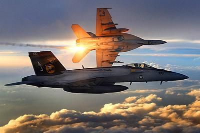 F/A-18 Super Hornets (Flying in Sunlight) Plastic Sign