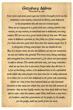Gettysburg Address Full Text Plastic Sign