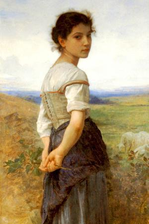 William-Adolphe Bouguereau The Young Shepherdess Plastic Sign