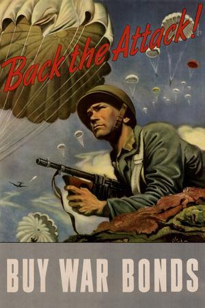 Back the Attack! Buy War Bonds WWII War Propaganda Plastic Sign