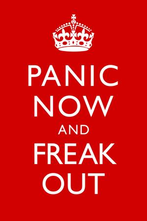 Panic Now And Freak Out Keep Calm Inspired Print Plastic Sign