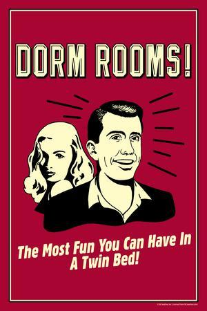 Dorm Rooms Most Fun In Twin Bed Funny Retro Plastic Sign