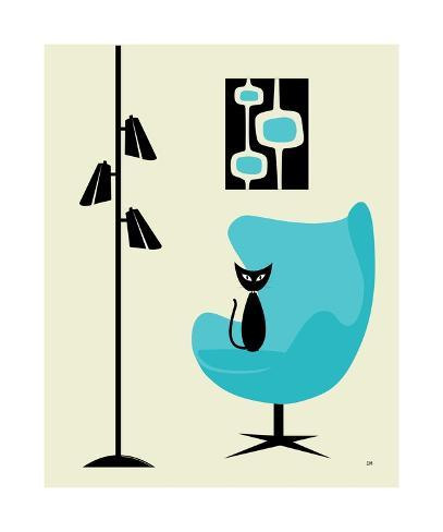 Mid Century Modern Cat In Turquoise Egg Chair I