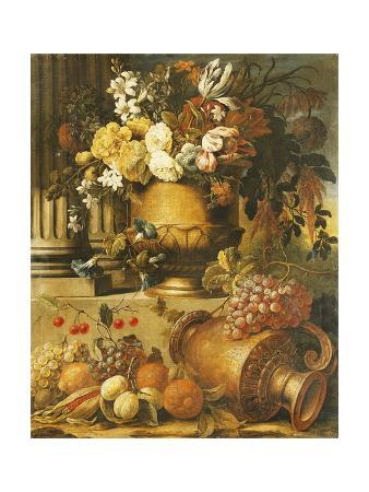 Flowers in Urns on Plinths with Fruit