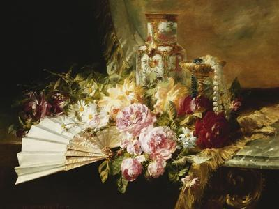 A Fan with Roses, Daisies and a Famille Rose Vase on a Draped Table