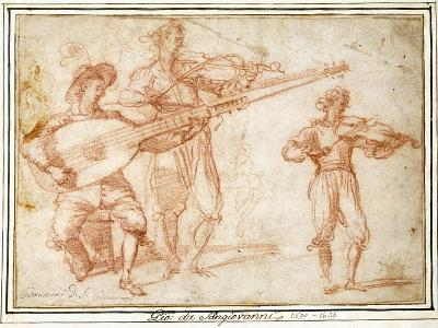 Two Musicians playing a Chiatarrone and a Violin, with a Subsidiary Study of the Second Musician