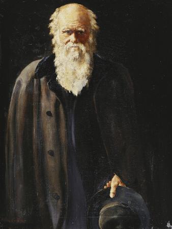 Portrait of Charles Darwin, standing three quarter length
