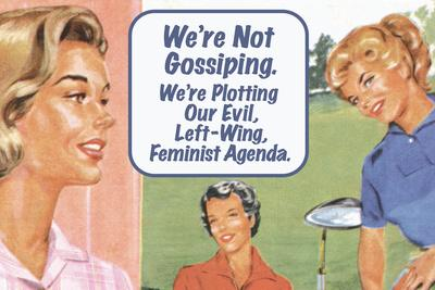 We're Not Gossiping We're Plotting Our Evil Feminist Agenda Funny Plastic Sign