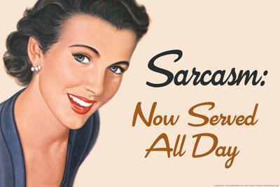 Sarcasm Now Served All Day Funny Plastic Sign