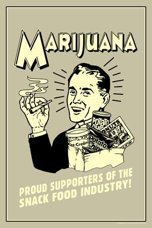 Marijuana Proud Sponsor Of Snack Food Industry Funny Retro Plastic Sign