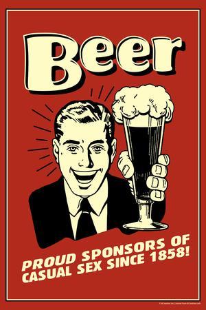 Beer Proud Sponsor Of Casual Sex Funny Retro Plastic Sign