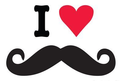 I Heart Love Mustaches Funny Plastic Sign