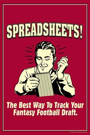 Spreadsheets Best Way Track Fantasy Football Draft Funny Retro Plastic Sign