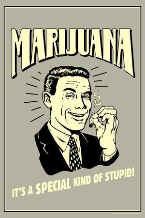 Marijuana Special Kind Of Stupid Funny Retro Plastic Sign