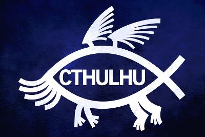 Cthulhu Fish Humor Plastic Sign