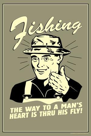 Fishing Way To Man's Heart Through His Fly Funny Retro Plastic Sign