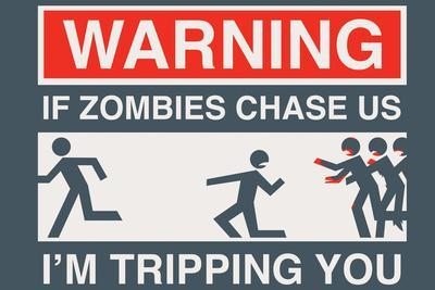 Zombie Chase Snorg Tees Plastic Sign