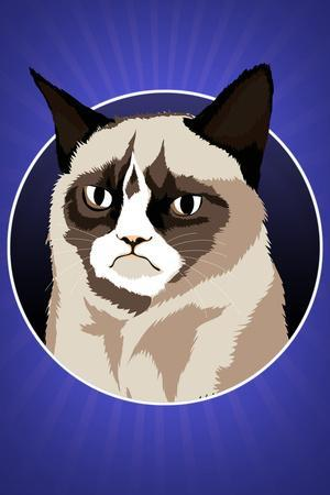 Grumpy Cat Cartoon Plastic Sign