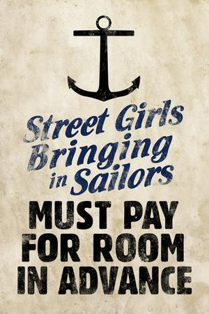 Street Girls Bringing in Sailors Plastic Sign