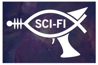 Sci-Fi Fish Humor Plastic Sign