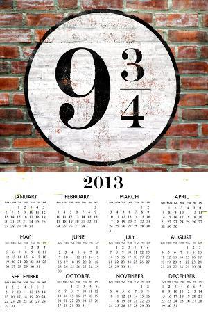 Platform 9 3/4 2013 Calendar Plastic Sign