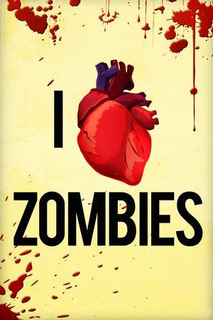I Heart Zombies Plastic Sign