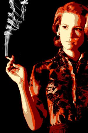 Betty Smoking Pop Television Plastic Sign