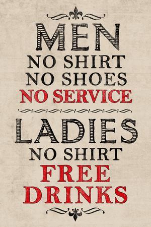 Ladies Free Drinks Men No Service Humor Plastic Sign