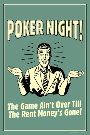 Poker Night Game Over When Rent Money's Gone Funny Retro Plastic Sign